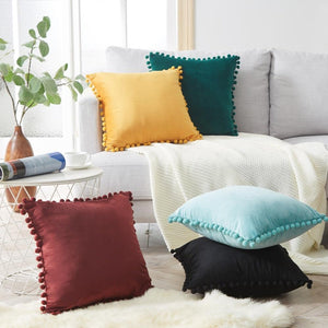 velvet pom pom pillows
