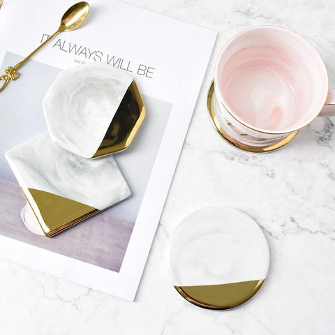 white gold marble coaster
