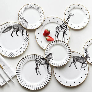 wild animals plates 2pc set