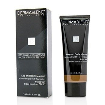 DERMABLEND Leg and Body Make Up Buildable Liquid Body Foundation Sunscreen Broad Spectrum SPF 25 Size: 100ml/3.4oz