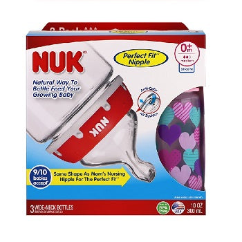NUK Bottle with Perfect Fit Nipple 0+ Months Medium Hearts 3 Wide-Neck Bottles 10oz (300 ml) Each