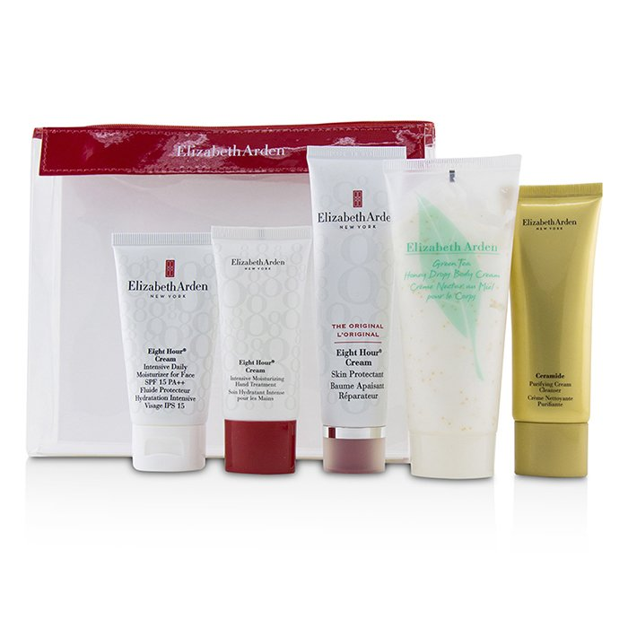ELIZABETH ARDEN  Daily Beauty Essentials Set: Purifying Cream Cleanser+ Eight Hour Cream+ Eight Hour Cream SPF 15+ Ei  Size: 5pcs