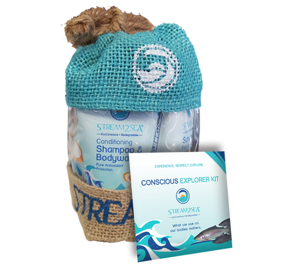 The Conscious Explorer kit : Sunscreen/Shampoo Bodywash/Conditioner/Lipbalm
