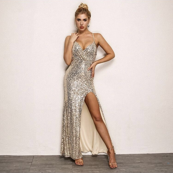 FabuleuxFemme Gold Glitter Evening Dress