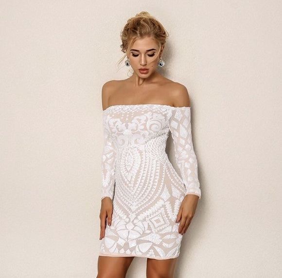FabuleuxFemme White Sequin Off The Shoulder Dress