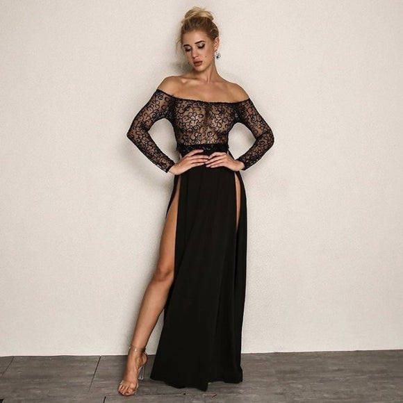 FabuleuxFemme Black Glitter Sheer Evening Dress
