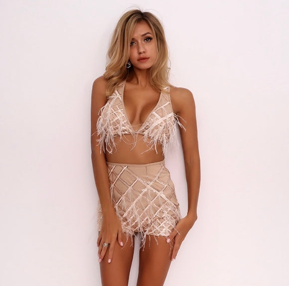 FabuleuxFemme Beige Feather Tassel Two Piece