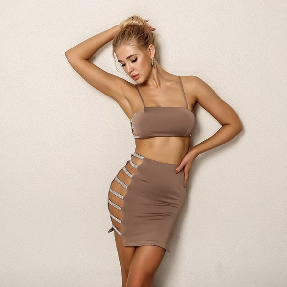 FabuleuxFemme Mocha x Diamante Two Piece