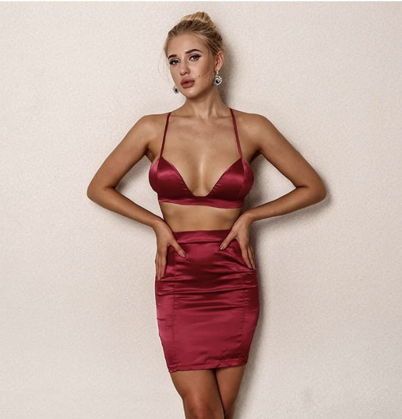 FabuleuxFemme Red Satin Two Piece