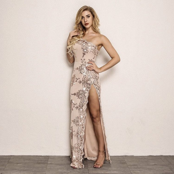 FabuleuxFemme Blush Glitter Long Split Dress