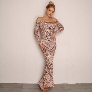 FabuleuxFemme Off The Shoulder Blush Sequin Long Dress