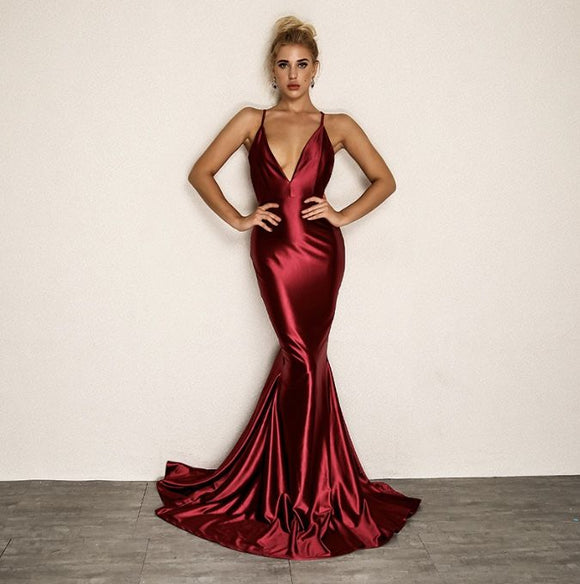FabuleuxFemme Red Satin Evening Dress