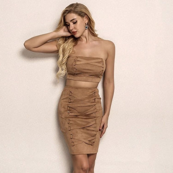 FabuleuxFemme Brown Woven Two Piece