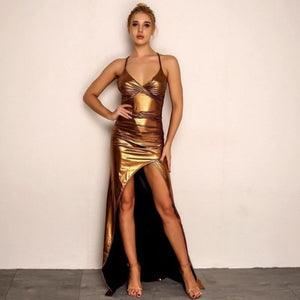 FabuleuxFemme Golden Chrome Metallic Evening Dress