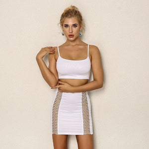 FabuleuxFemme White Side Cut Two Piece