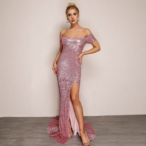FabuleuxFemme Pink Off The Shoulder Sequin Evening Dress