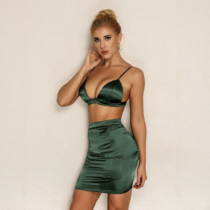 FabuleuxFemme Green Satin Two Piece Set