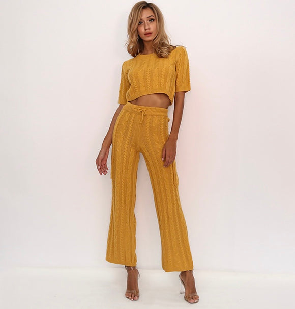 Fabuleux Femme Mustard Yellow Knit Two Piece