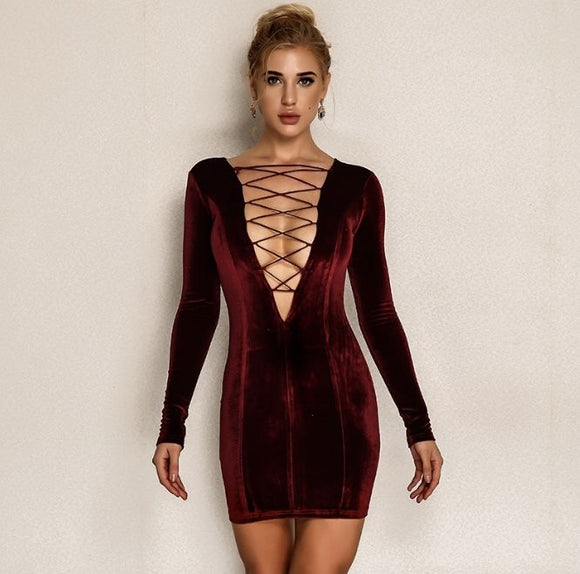 FabuleuxFemme Deep Red Suede Laced Dress