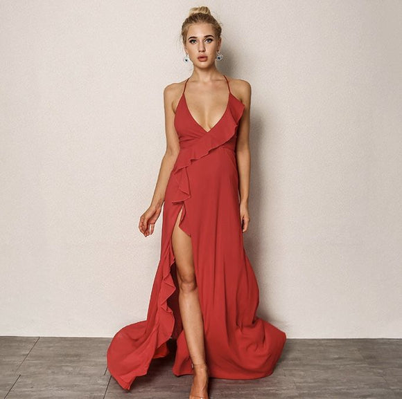 FabuleuxFemme Red Frill Long Dress