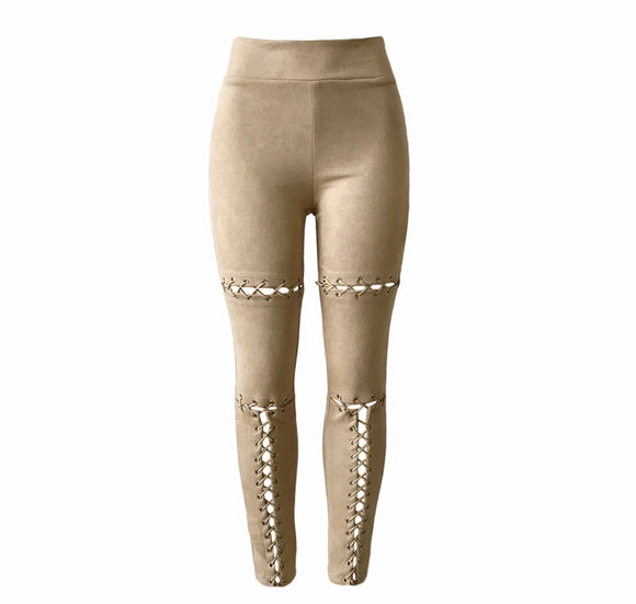 Beige Faux Suede Lace Up Leggings
