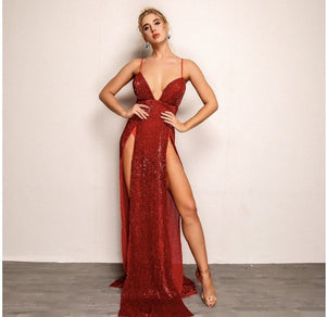 FabuleuxFemme Red Sequin Thigh Split Evening Dress