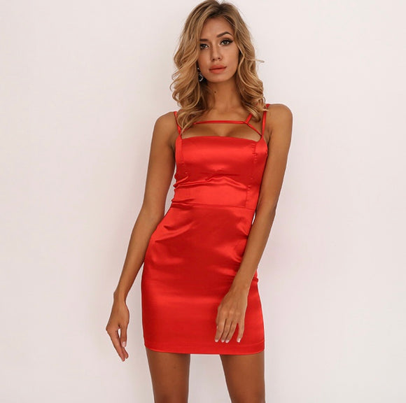 FabuleuxFemme Red Satin Bodycon Dress