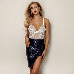 FabuleuxFemme Navy Sequin Skirt