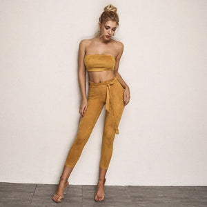 FabuleuxFemme Yellow Suede Two Piece