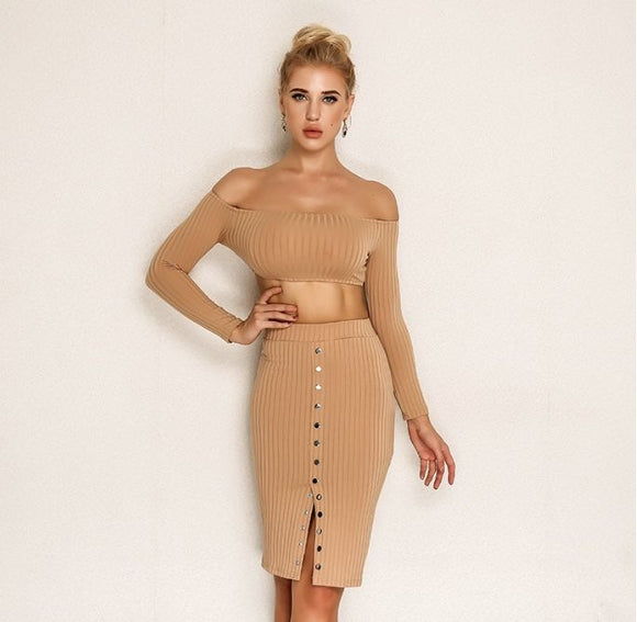 FabuleuxFemme Beige Button Two Piece