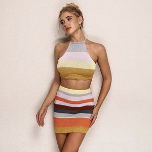 FabuleuxFemme Multi Stripe Two Piece