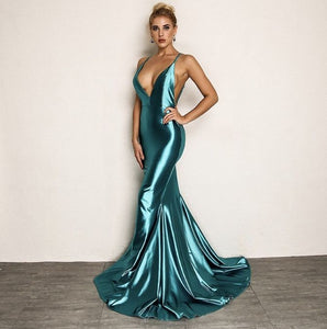 FabuleuxFemme Green Satin Evening Dress