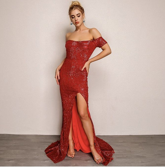 FabuleuxFemme Red Off The Shoulder Sequin Evening Dress