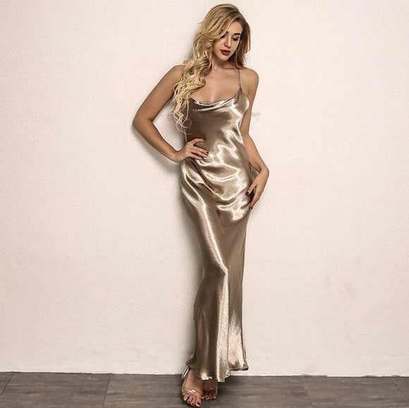 FabuleuxFemme Golden Satin Maxi Dress