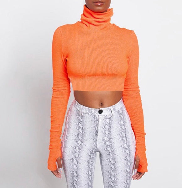 Fabuleux Femme Orange Turtleneck Crop Top