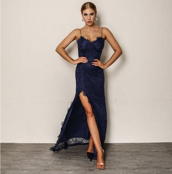 FabuleuxFemme Navy Lace Embroidery Dress