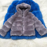CP Faux Fur Factory Faux Fox Fur Coat Women Winter Fashion Artifical Fur Hooded Coats Overcoat Female Faux Furs Jacket CP42
