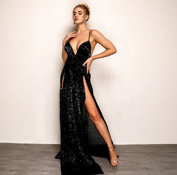 FabuleuxFemme Black Sequin Split Evening Dress