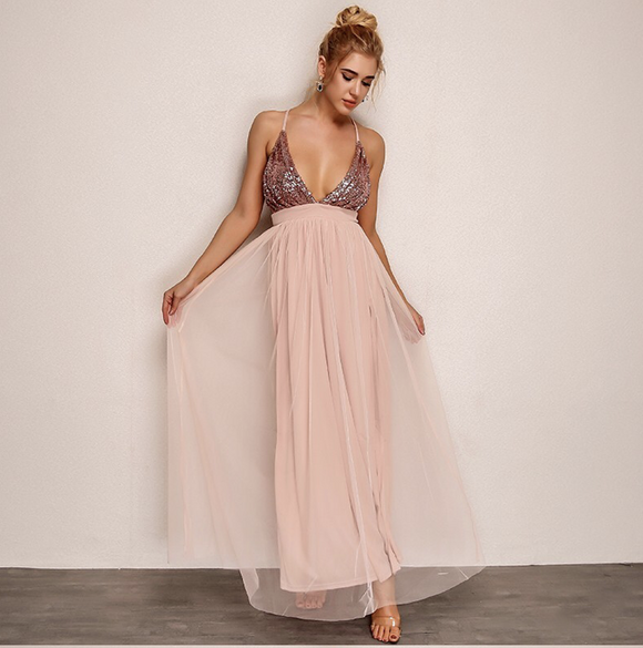 FabuleuxFemme Blush Glitter Maxi Dress