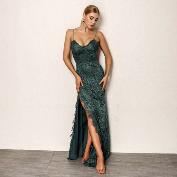 FabuleuxFemme Green Lace Embroidery Dress