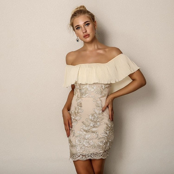FabuleuxFemme Beige Frill Lace Dress
