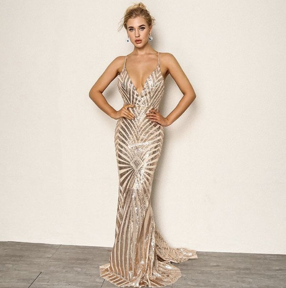 FabuleuxFemme Golden Globe Sequin Evening Dress