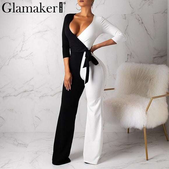 Glamaker Pacthwork wide leg bodycon jumpsuit Women sexy v neck playsuit overalls Winter streetwear long sleeve jumpsuit rompers