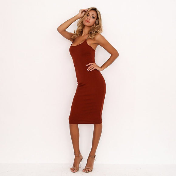 FabuleuxFemme Burgundy Midi Dress