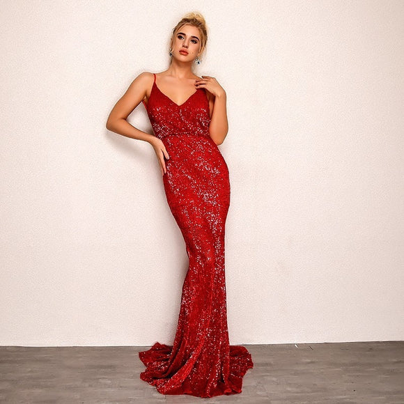 FabuleuxFemme Red Sequin Long Ball Gown Dress
