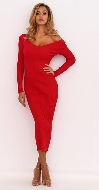 FabuleuxFemme Red Off Shoulder Knitted Dress
