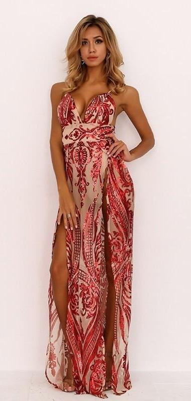 FabuleuxFemme Red Sequin High Split Maxi Dress