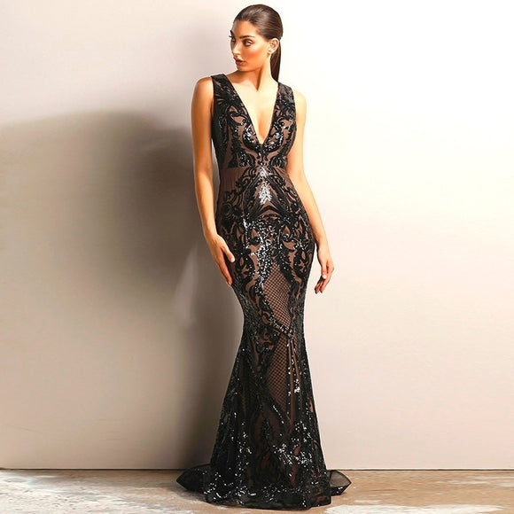 FabuleuxFemme Black Glitter Sequin Evening Dress