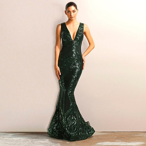 FabuleuxFemme Green Glitter Sequin Evening Dress