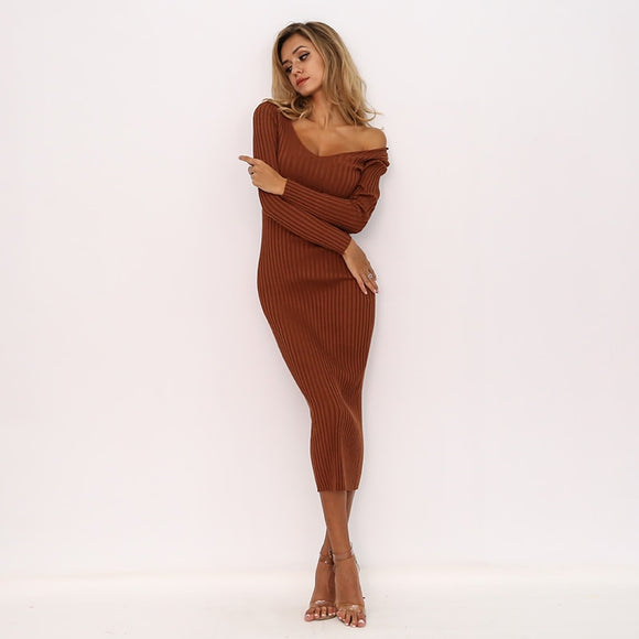 FabuleuxFemme Knitted Long Bodycon Dress